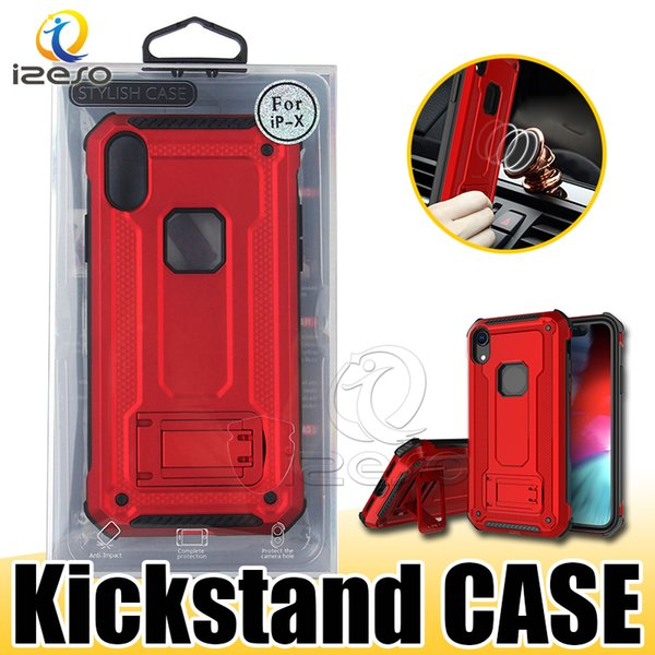 Heavy Duty Armor Kickstand Case for iPhone 11 Pro Samsung Note 10 Plus S10 5G HUAWEI P30 MOTO G7 Power with Retail Packaging