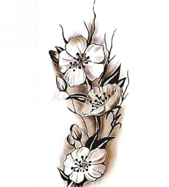 Femmes sexy tatouage temporaire fleur de prunier imperméable à l'eau autocollants de tatouage 9 * 18.5 cm corps art tatouage fleur livraison gratuite