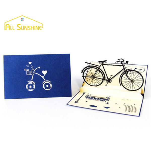 Al por mayor- Tarjeta de felicitación hecha a mano 3D Pop Up Cards Retro Bicycle Postales Feliz cumpleaños Gracias tarjetas