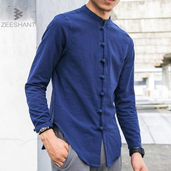 Zeeshant Hombre Camisas de lino Manga Larga Estilo Chino Collar Mandarín Tradicional Kung Fu Tang Casual Camisa Social Marca de Ropa