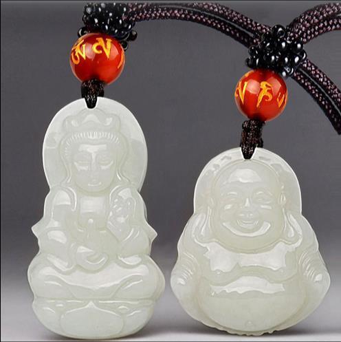 Natural Xinjiang Hetian jade Guanyin Buddha Pendant Necklace lovers smiling Buddha jade pendant pendant for men and women