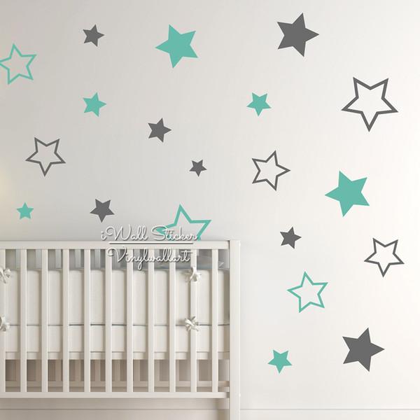 Großhandel Baby Kinderzimmer Sterne Wandaufkleber Stern Wandtattoo  Kinderzimmer Dekor Kinderzimmer Abnehmbare Baby Tapete Hohe Qualität Cut  Vinyl ...