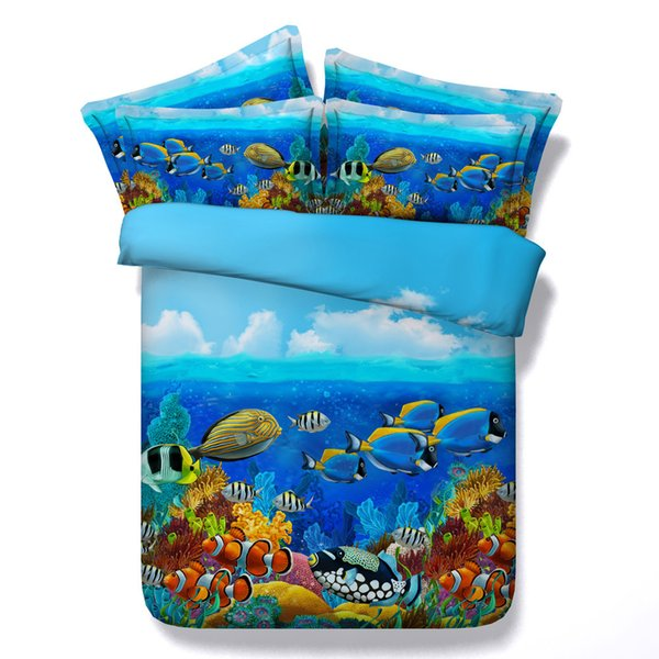3D Swan fish wolf dragon butterfly tiger horse bedding sets queen christmas duvet cover single twin king cal king size bedspreads