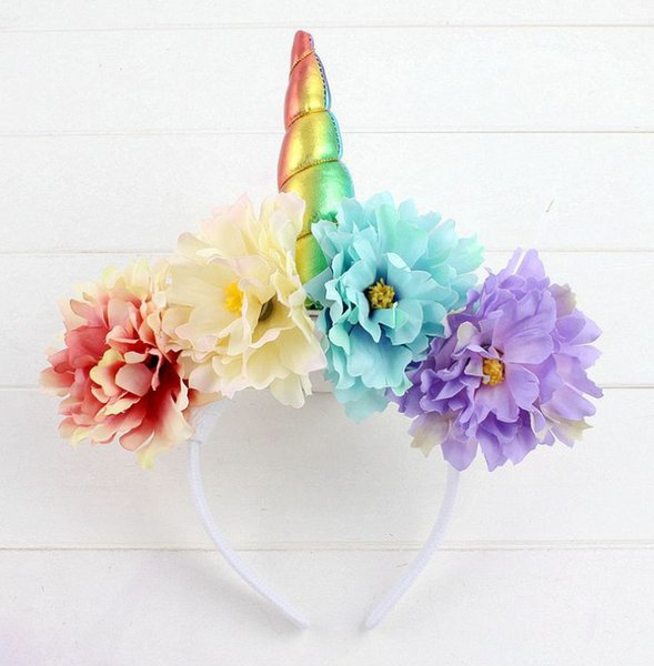 Girls rainbow unicorn hair sticks children stereo simulation flowers princess hair accessories boutique kids christmas party hairbands F2403