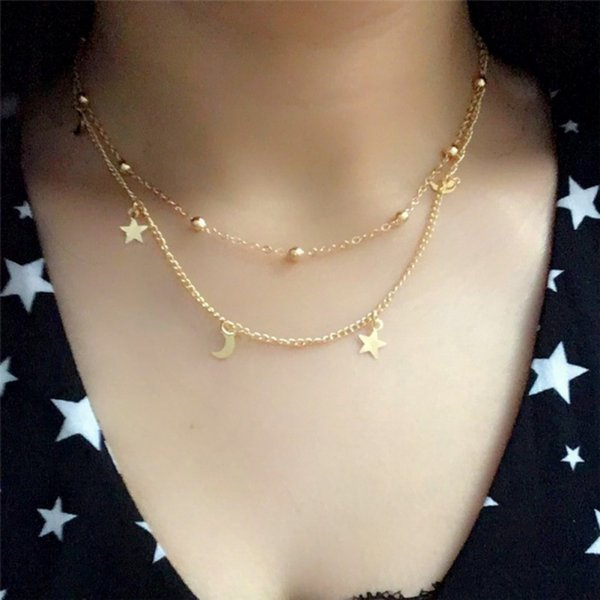 Moon and Stars Cute and Romantic Women Girls Trendy Novelty Chains Necklaces New Fashion Alloy Metal Unique Gifts Y9