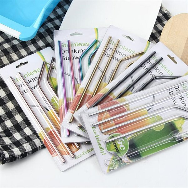 4pcs Stainless Steel Straw +1pcs Cleaner Brush With Blister Card Or Cloth Bag Bend Straight Drinking Straw Set Kitchen Bar Party Accessories