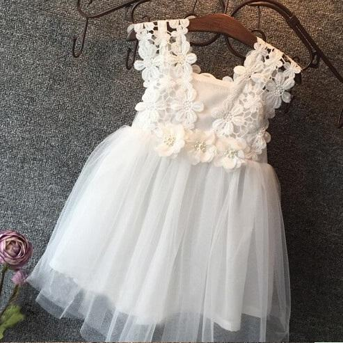 top popular Vieeoease Girls Dress Flower Kids Clothing 2018 Summer Fashion Sleeveless Vest Lace Tutu Princess Party Dress KU-137 2020