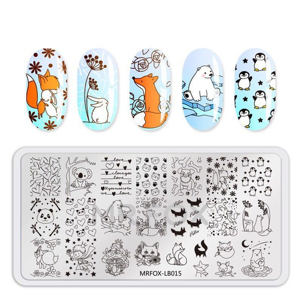 Nail Stamping Plates with white pad Stampo animale modello Nail Stamping Stamping Template Immagine Stencil Nails Strumento