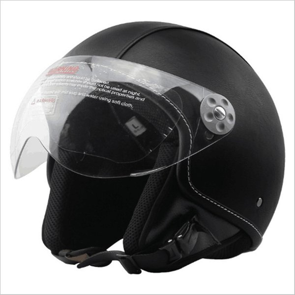 PU Leather Harley Helmets 3/4 Motorcycle Chopper Bike Helmet Open Face Vintage Motorcycle Helmet with Goggle Mask Black /XL(61