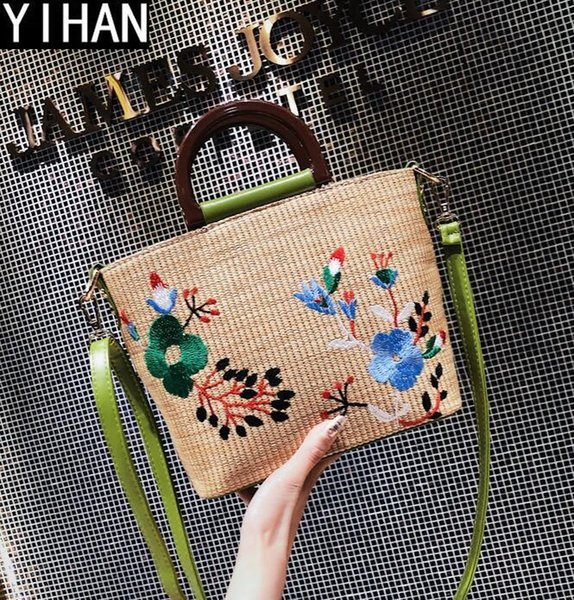 Factory own brand handbags hand-woven mobile beach bags street shoot straw leather portable shoulder bag summer new embroidery straw bag