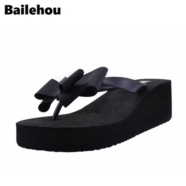 Bailehou Mode Femmes Pantoufles Tongs Papillon Noeud Diapositives Casual Slip Sur Chaussures Plate-Forme Plage Slipper Wedge Chaussures Talon 6