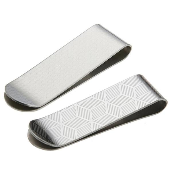 Stainless Steel Design Card ID Case Money Paper Clip Metal Case Men Stripe Print Clamp Clips Card Holder Brass Office Supplies