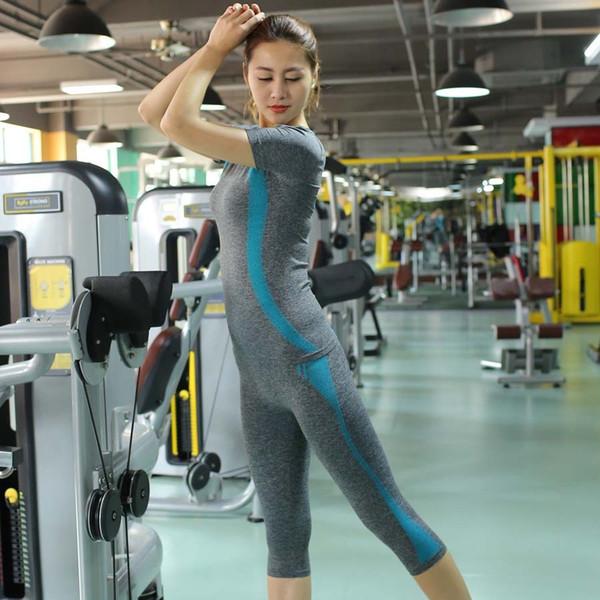 Лена Гага йога устанавливает женщины тренажерный зал одежда йога набор плюс Размер 2 шт. женщины фитнес наборы 2017 спортивная одежда бег спортивный костюм
