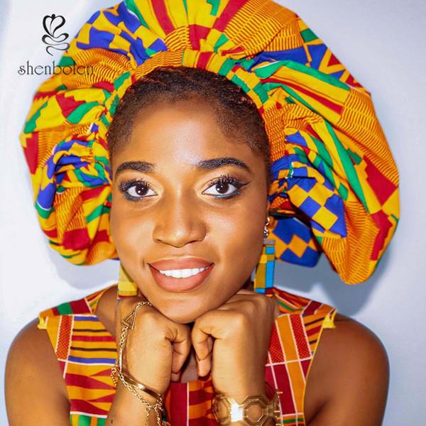 Shenbolen 2018 Африканский печати волос капот обратимым атласная капот Kente печати сна cap Оптовая невесты подарок