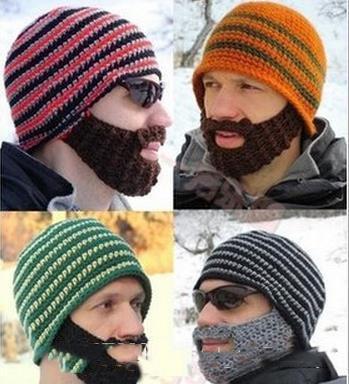winter Fashion Mustache hat Handmade Knitted Crochet Beard Hat Bicycle Mask Ski Cap roman knight octopus Cool Funny beanies Gift Free Shipp