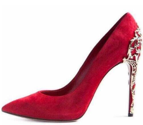 Brand Women Red Black Suede Pointed Toe Pumps Gold Cut-outs Metal Heels Dress Shoes Thin High Heel Metal Decorated Wedding Shoes