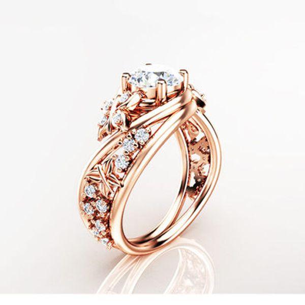 Style européen et américain papillon et fleur dames anneau micro-incrusté zircon cuivre plaqué or rose fleur bijoux