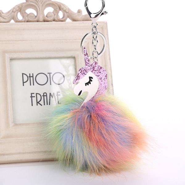 Mode Pegasus Einhorn Auto Pom Pom KeyChain Tasche Charms Schmuck für Frauen Tierpelz Ball Schlüsselanhänger Farben Clef Pompom Schlüsselanhänger