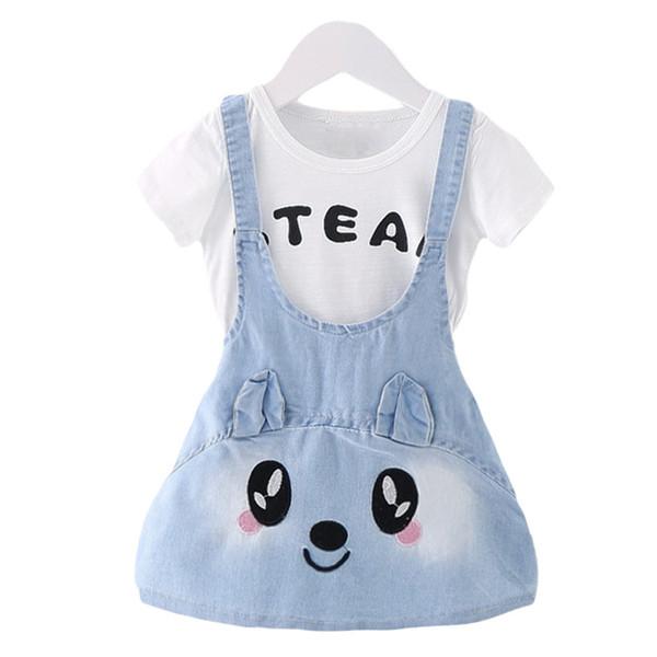 2016 Summer New Girls Jeans Dresses Rabbit Pattern Baby Girl Dresses Kids Demin Girls Dresses Clothes Vestidos 1 PC Top Quality
