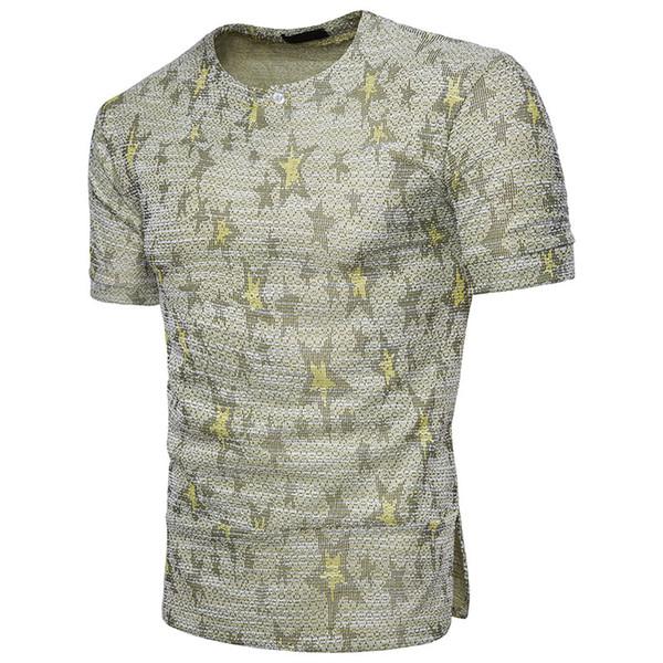 Men's T-shirt African wind design jacquard decoration fashionable dynamic men's short sleeves fashionable breathable T-shirt.