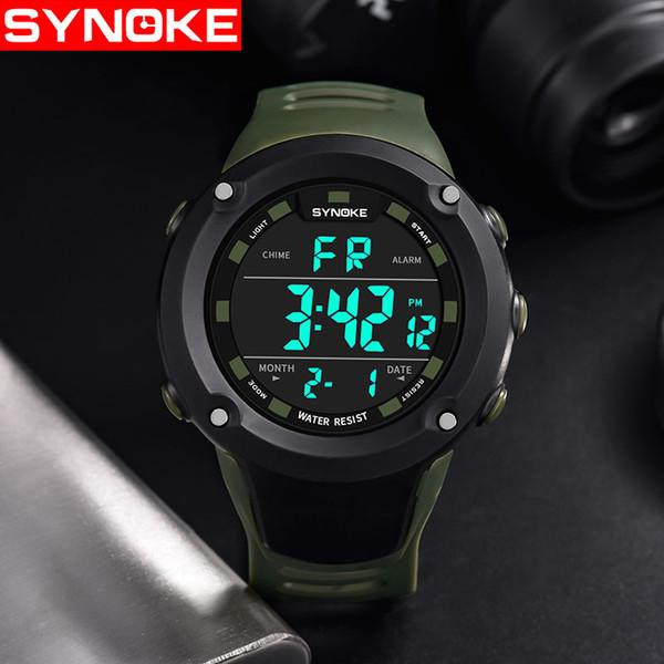 SYNOKE Sport Men Black LED Big Wrist Watch Waterproof Fashion Digital LED Military Smart Alarm Silicone Wristwatches with Stopwatch 9638