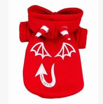 Dia das bruxas Diabo Roupas Para Cachorro Do Dia Das Bruxas Brilho Na Noite Trajes Do Cão Do Inverno Quente Cão Cosplay Camisola Vestuário