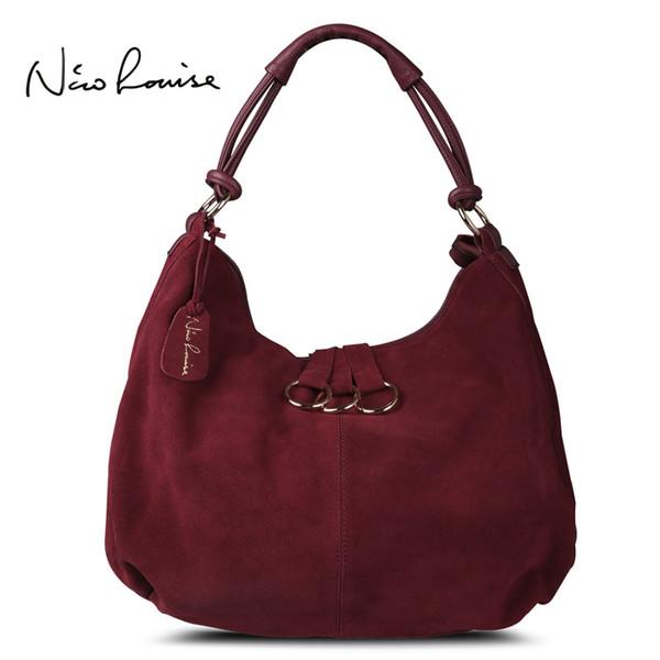 Nico Louise Mujeres Real Hombro de cuero partido Hobo Bag, Diseño original de gamuza Ocio Bolsos grandes Señora Casual Shopping Sac Sac