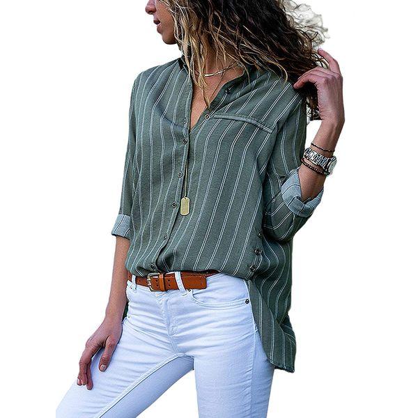 Womens manica lunga camicie button-down casuale a strisce verticale camicetta chiffona multicolore poliestere con tasche anteriori camicie da lavoro