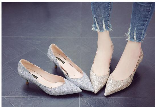 2019 Wholesale-Fashion Diamonds Sequined Bride Shoes Low Heel Party Prom Sliver Wedding Shoes Gold Heel For Women