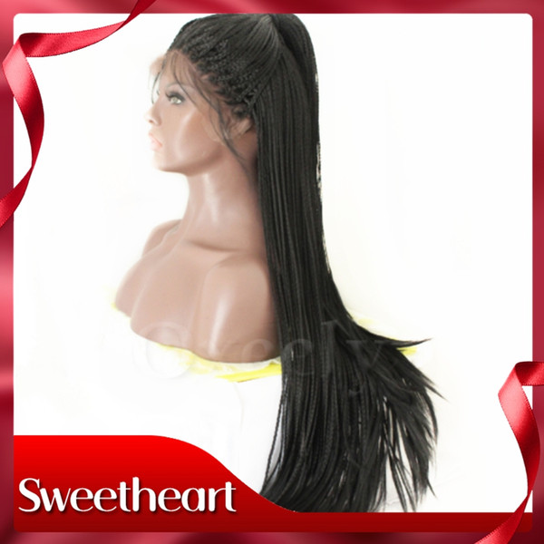 Full Density Micro Long Braids Hair Lace Front Wig with Baby Hair Glueless Synthetic Lace Front Wigs Braided Wig Heat Resistant for Women