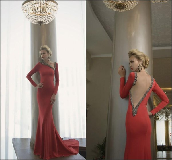 Cohen Evening Dresses Fall Winter Designer Mermaid Womens Long Sleeve Illusion Back Red Satin Vintage Party Gowns Irregular Collar