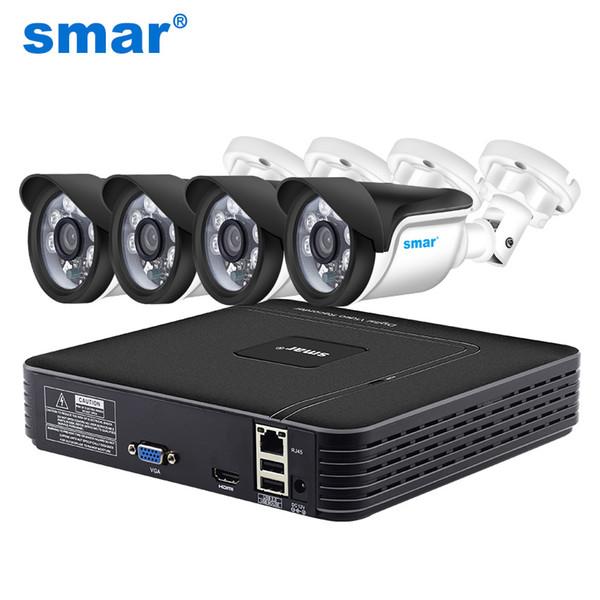 Smar HD 4CH 1080P NVR-Überwachungskit 4 STÜCKE 1MP / 1.3MP / 2MP IP-Außenkamera-Kit für Heimsicherheitsüberwachungssystem HDMI P2P-E-Mail-Alarm