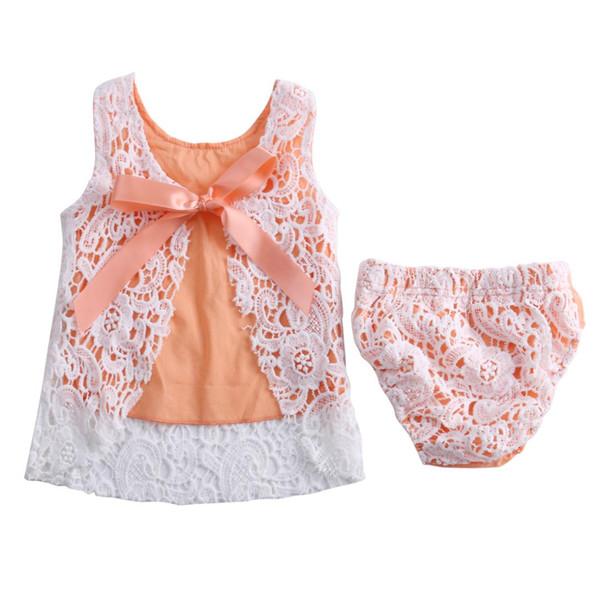 2018 Newborn Baby Girls Clothes Sunsuit Lace Swing Tops Dress Briefs 2pcs Outfit Set Cute Princess Cotton