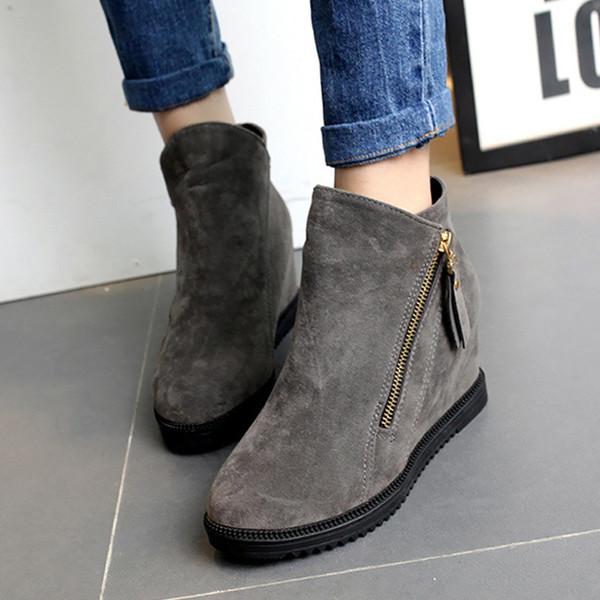 Botas para mujer flock punta redonda botines tobillo aumento de altura botas de cuña con cremallera botas de goma zapatos resistentes al desgaste mujer 2017