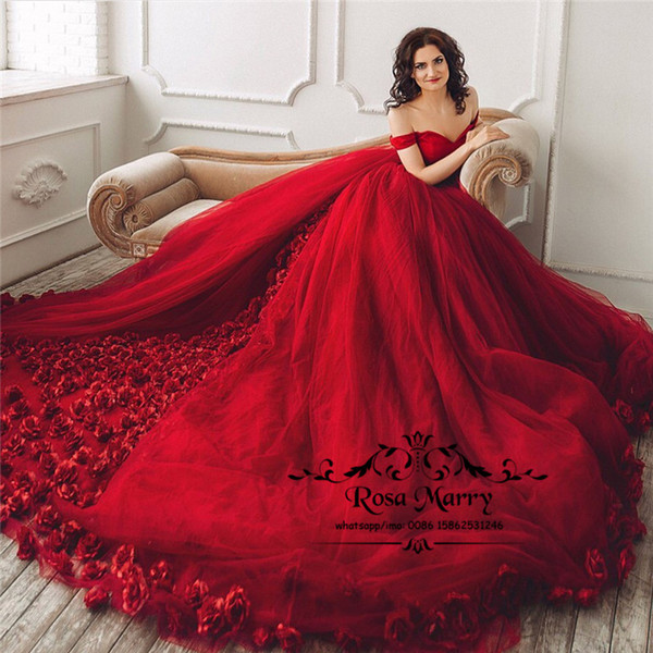 Red 3D Floral Ball Gown Wedding Dresses 2020 Off Shoulder Plus Size Hand Made Flowers Arabic African Girls Bridal Gowns Vestido De Novia