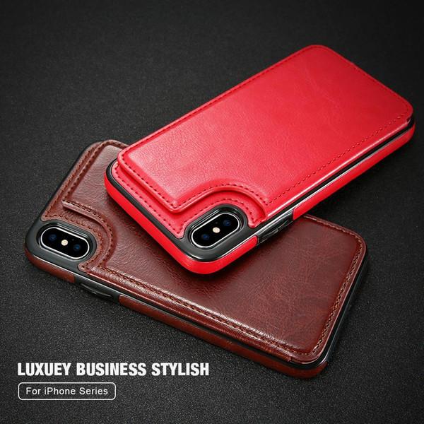 Etui à rabat en cuir rétro pour iPhone XS XR X 10 7 8 Plus titulaire de la carte portefeuille verticale pour iPhone 5 5s SE XS Max 6 6s