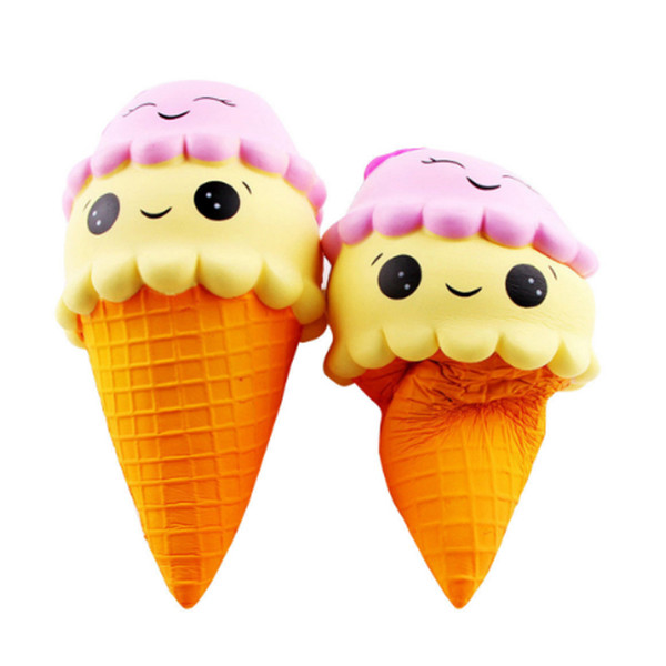 2018 Giant 18cm Smile Face Ice Cream Squishy Double Head Torch Slow Rising Cone Jumbo Squeeze Decompression Toys