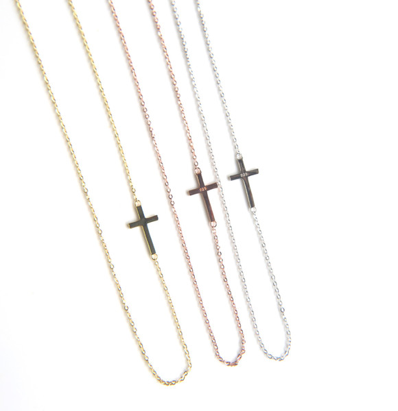 guarantee 925 sterling silver simple cross design sideway cross charm thin silver chain dainty classic silver sideway necklace for wmen 2018