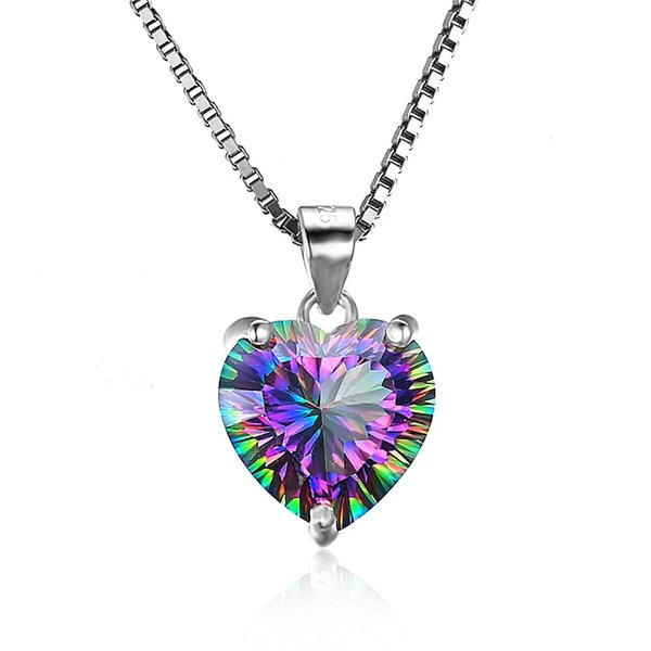 Fashion 4.3ct Colorful Crystal Heart Pendant Necklace With S925 Sterling Silver Box Chains Fine Jewelry For Office Lady