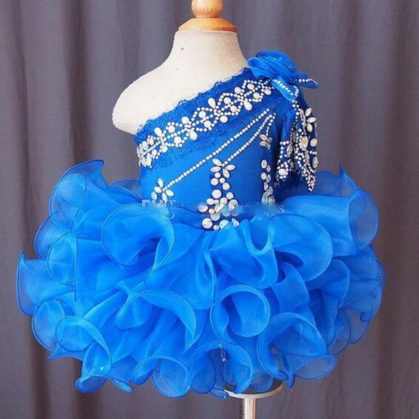 Blue crystal Beaded one shoulder Girls Pageant Dreses Short Organza Skirt Ruffle Lace Appliqued Bow Birthday Wears For Toddler