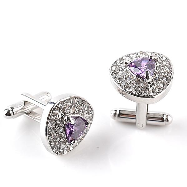 Luxury heart Crystal diamond Cufflinks Cuff Links sleeve button for women men shirts dress suits Cufflink wedding jewelry gift 170605