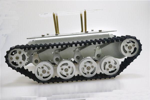 Il telaio del carro armato del robot di Smart Absorper del metallo con il doppio motore a corrente continua esamina le ruote della lega di alluminio per il progetto TS100 di Arduino