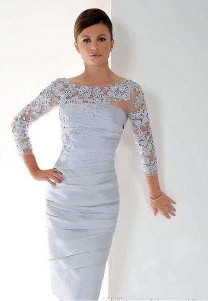 Corto madre de la novia viste con mangas 3/4 longitud de la rodilla apliques de encaje plisado acanalada tallas grandes mujer vestidos de noche formales
