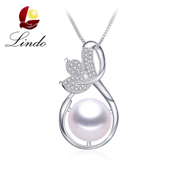 AAAA High Quality Natural Freshwater Pearl Pendant Necklace Elegant 925 Silver Wedding Jewelry with Gift Box