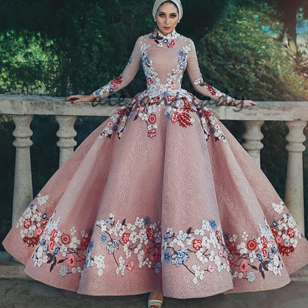 Blush pink Muslim Prom Dresses Lace Puffy Ball Gown 3D floral Flower Embroidery Long Sleeve Arabic hijab Evening Dresses Gowns