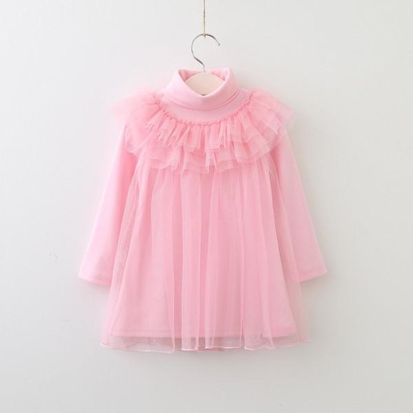top popular Vieeoease Girls T-Shirt Lace Tulle Ruffle Shirt 2018 Autumn Fashion Long Sleeve Korean Style Kids Clothes HX-789 2020
