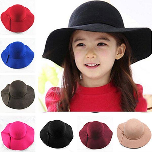 Новый винтаж ретро дети ребенок мальчик девочка шляпы Fedora полиэстер войлок дробления широкополые шляпы Cloche Floppy Sun Beach Cap 2 шт. аксессуары