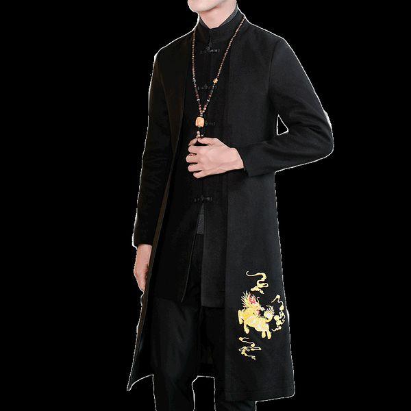 Acheter Longue Veste Hommes Nouvelle Broderie D'hiver Long Manteau Hommes Manteau De Style Chinois Homme 5XL Grande Taille De $92.81 Du Beenni |