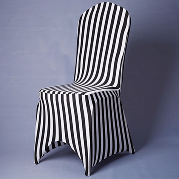 Piece White And Black Chair Covers Zebra Striped Pattern Chair Covers Lycra Spandex Fancy Chair Skirt Ruffle For Sale AEI-051
