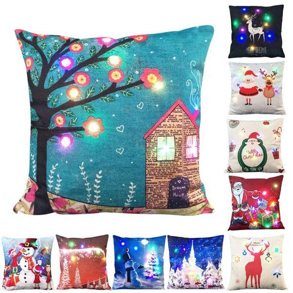 45*45cm Led Lighted Pillow Case Christmas Tree Santa Claus Reindeer Pillow Cover XMAS Sofa Car Decor Cushion